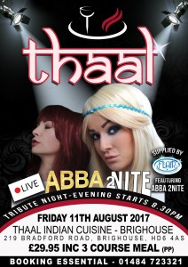 THAAL TRIBUTE NIGHT 11TH AUGUST (ABBA 2NITE) July 2017